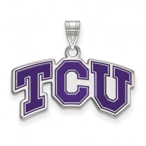 Texas Christian Horned Frogs Sterling Silver Small Enamel Pendant