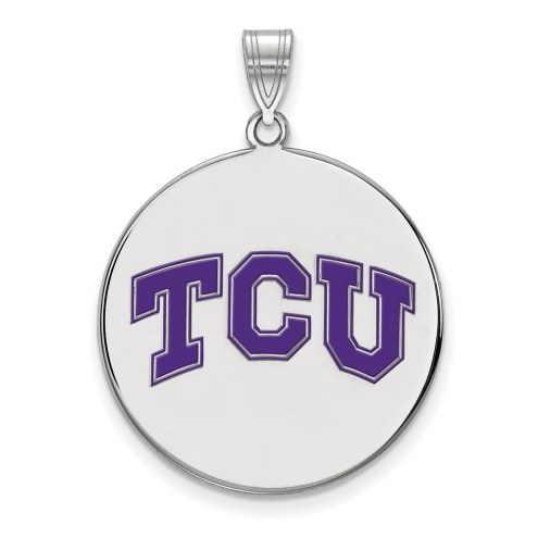 Texas Christian Horned Frogs Sterling Silver Extra Large Enameled Disc Pendant