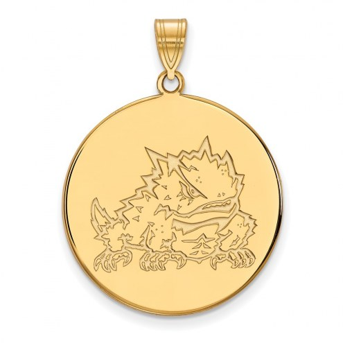 Texas Christian Horned Frogs Sterling Silver Gold Plated Extra Large Disc Pendant