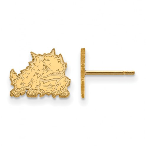 Texas Christian Horned Frogs Sterling Silver Gold Plated Extra Small Post Earrings