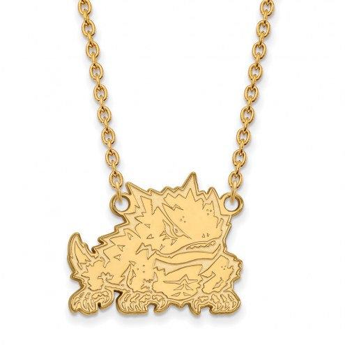 Texas Christian Horned Frogs Sterling Silver Gold Plated Large Pendant Necklace