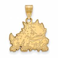 Texas Christian Horned Frogs Sterling Silver Gold Plated Medium Pendant