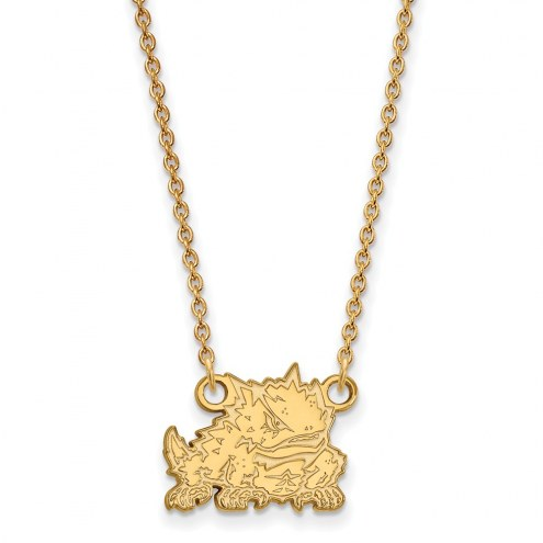 Texas Christian Horned Frogs Sterling Silver Gold Plated Small Pendant Necklace