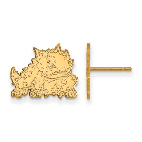 Texas Christian Horned Frogs Sterling Silver Gold Plated Small Post Earrings