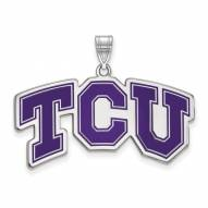 Texas Christian Horned Frogs Sterling Silver Large Enameled Pendant
