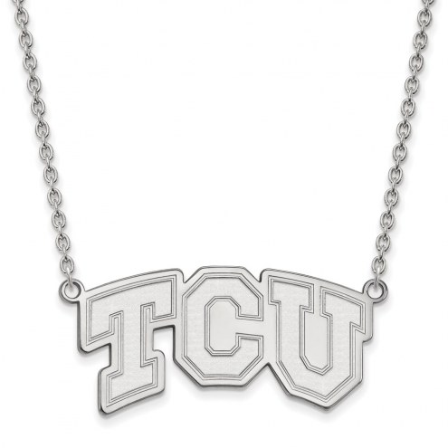 Texas Christian Horned Frogs Sterling Silver Large Pendant Necklace