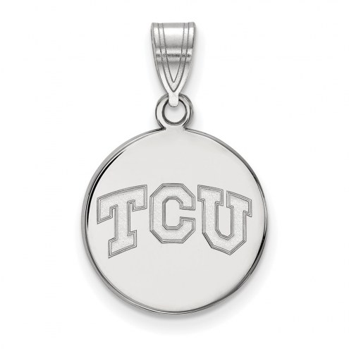 Texas Christian Horned Frogs Sterling Silver Medium Disc Pendant