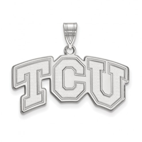 Texas Christian Horned Frogs Sterling Silver Medium Pendant