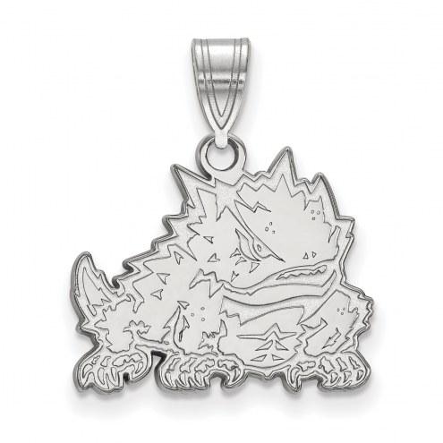 Texas Christian Horned Frogs Sterling Silver Medium Pendant