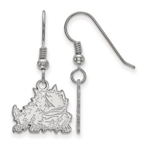 Texas Christian Horned Frogs Sterling Silver Small Dangle Earrings