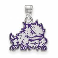 Texas Christian Horned Frogs Sterling Silver Small Enamel Pendant