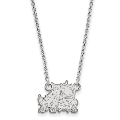 Texas Christian Horned Frogs Sterling Silver Small Pendant Necklace