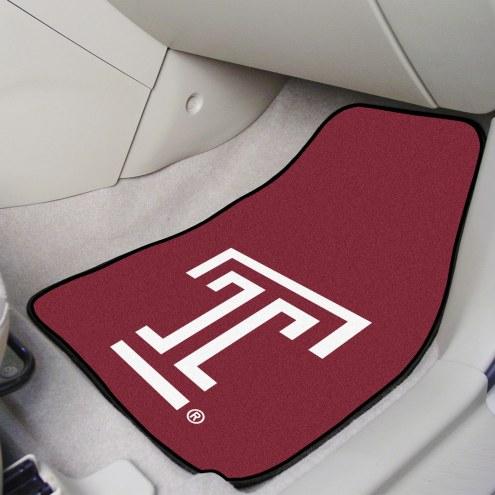 Temple Owls 2-Piece Carpet Car Mats