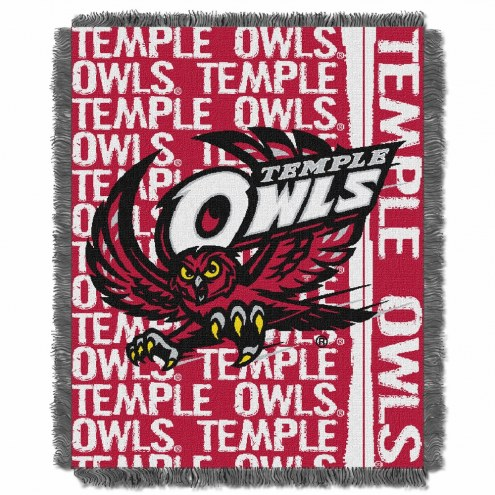Temple Owls Double Play Woven Throw Blanket
