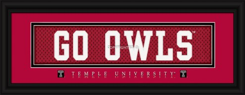 """Temple Owls """"Go Owls"""" Stitched Jersey Framed Print"""