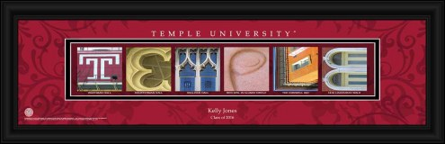 Temple Owls Personalized Campus Letter Art