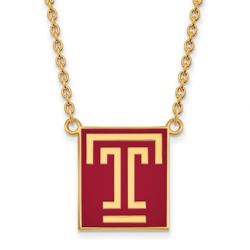 Temple Owls Sterling Silver Gold Plated Large Enameled Pendant Necklace