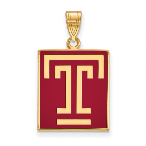 Temple Owls Sterling Silver Gold Plated Large Enameled Pendant