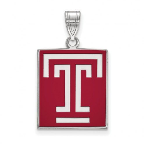 Temple Owls Sterling Silver Large Enameled Pendant
