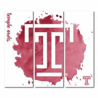 Temple Owls Triptych Watercolor Canvas Wall Art