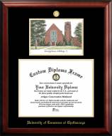 Tennessee Chattanooga Mocs Gold Embossed Diploma Frame with Campus Images Lithograph