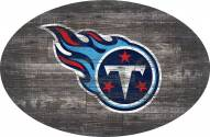 """Tennessee Titans 46"""" Distressed Wood Oval Sign"""