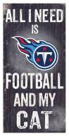 """Tennessee Titans 6"""" x 12"""" Football & My Cat Sign"""