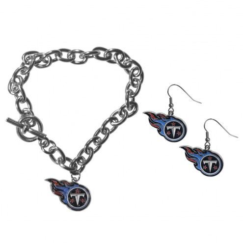 Tennessee Titans Chain Bracelet & Dangle Earring Set