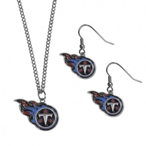 Tennessee Titans Dangle Earrings & Chain Necklace Set