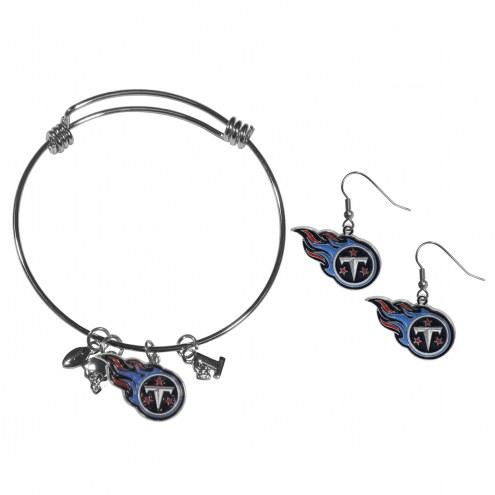 Tennessee Titans Dangle Earrings & Charm Bangle Bracelet Set