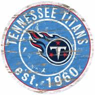 Tennessee Titans Distressed Round Sign