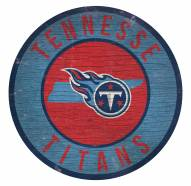Tennessee Titans Round State Wood Sign