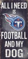 Tennessee Titans Football & Dog Wood Sign