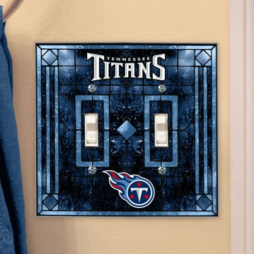 Tennessee Titans Glass Double Switch Plate Cover
