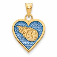 Tennessee Titans Gold Plated Enameled Heart Pendant