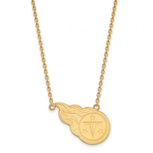 Tennessee Titans Sterling Silver Gold Plated Large Pendant with Necklace