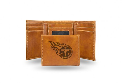 Tennessee Titans Laser Engraved Brown Trifold Wallet