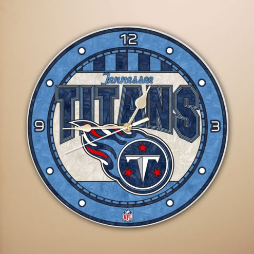 Tennessee Titans NFL Stained Glass Wall Clock