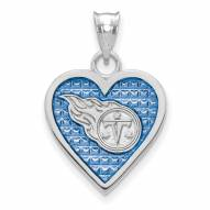 Tennessee Titans Sterling Silver Enameled Heart Pendant