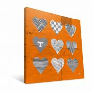 """Tennessee Volunteers 12"""" x 12"""" Hearts Canvas Print"""