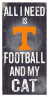 """Tennessee Volunteers 6"""" x 12"""" Football & My Cat Sign"""
