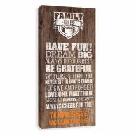 Tennessee Volunteers Family Rules Icon Wood Printed Canvas