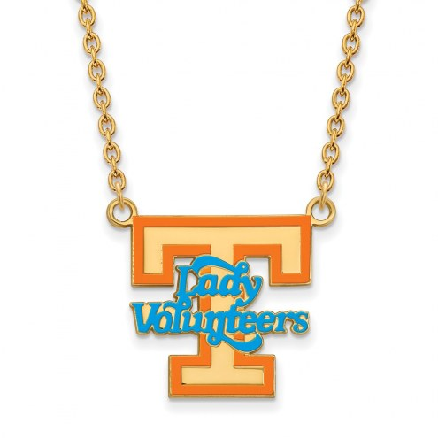 Tennessee Volunteers Sterling Silver Gold Plated Large Enameled Pendant Necklace
