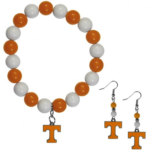 Tennessee Volunteers Fan Bead Earrings & Bracelet Set