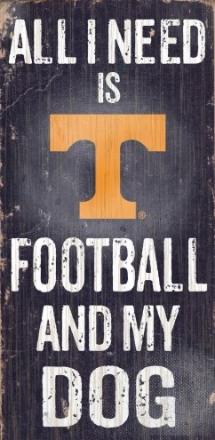Tennessee Volunteers Football & Dog Wood Sign