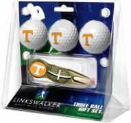 Tennessee Volunteers Gold Crosshair Divot Tool & 3 Golf Ball Gift Pack