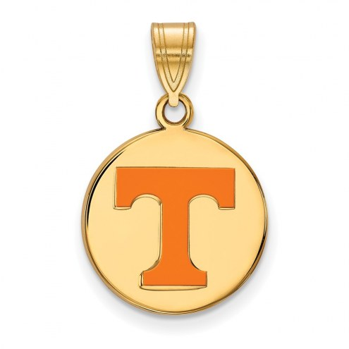 Tennessee Volunteers Sterling Silver Gold Plated Medium Enameled Disc Pendant