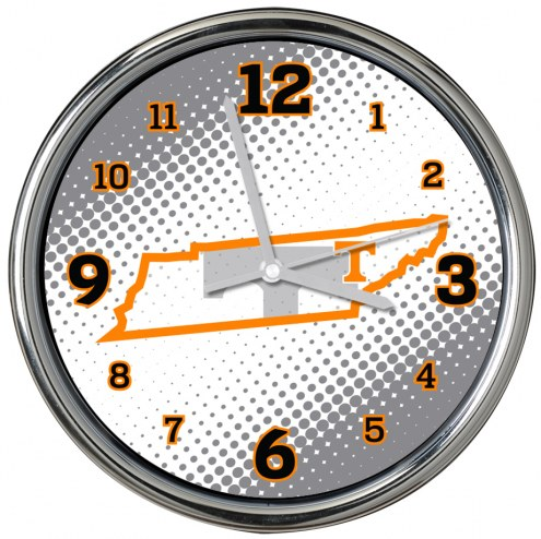 Tennessee Volunteers State of Mind Chrome Clock