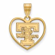 Tennessee Volunteers Sterling Silver Gold Plated Heart Pendant