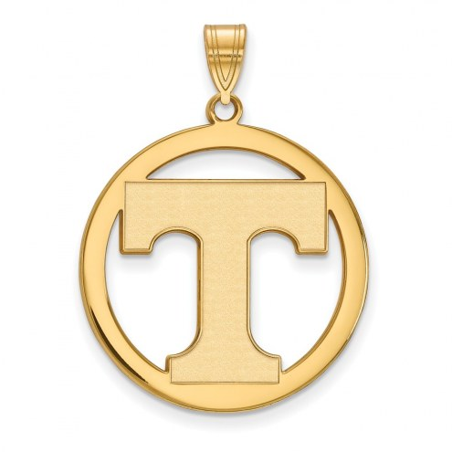 Tennessee Volunteers Sterling Silver Gold Plated Large Circle Pendant
